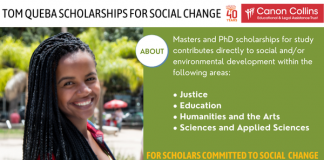 Canon Collins Trust Tom Queba Scholarships for Social Change 2021/2022 (Up to R85,000)