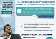 Canon Collins Trust Scholarship for Economic Justice 2021/2022 (up to R60,000)