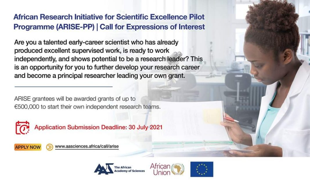 African Research Initiative for Scientific Excellence Pilot Program (ARISE-PP) Grant 2021 (Up to EUR 500,000)