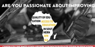 Canon Collins Trust RMTF Scholarships for Postgraduate Study in Education 2021/2022 (Up to R100,000)