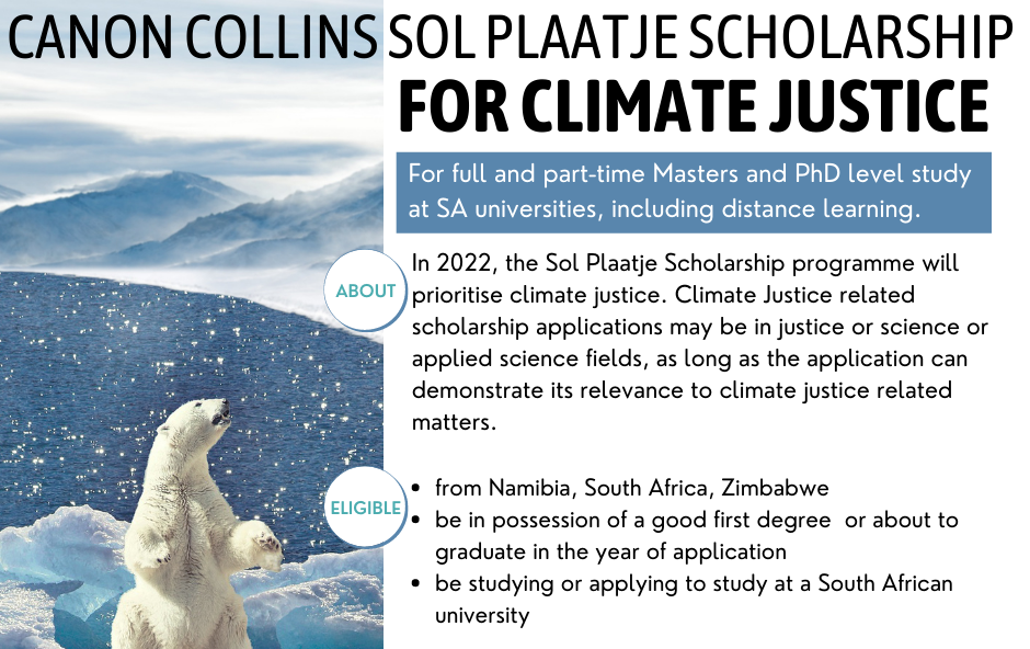 Canon Collins Sol Plaatje Scholarships for Climate Justice 2021/2022 (up to R100,000)