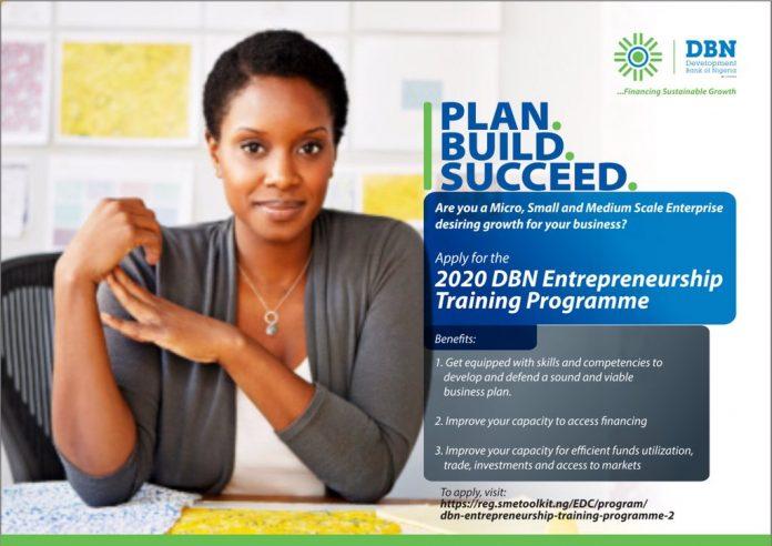 The Development Bank of Nigeria Entrepreneurship Program 2021 for young Nigerian Entrepreneurs.