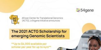 African Center for Translational Genomics (ACTG) 2021 Academic Scholarship for emerging genomic scientists.