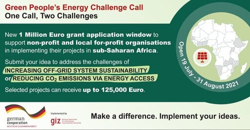 Green People's Energy Challenge 2021 for Energy Access Innovators (1 Million Euro Grant)