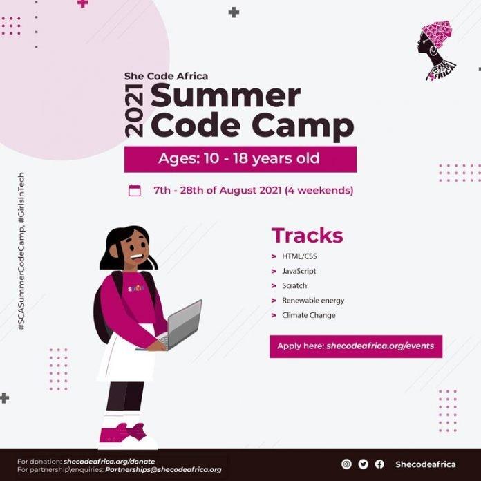 She Code Africa Summer Code Camp 2021 for High school girls from across Africa.