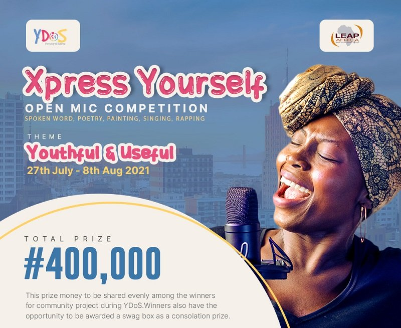 LEAP Africa Xpress Yourself Open Mic Challenge 2021 (N400,000 Prize)