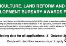 The Department of Agriculture, Land Reform and Rural Development (DALRRD) Bursary Awards 2022 for young South Africans.