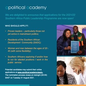 Apolitical Academy Southern Africa Public Leadership Programme 2021/2022 for young emerging leaders from Southern Africa.