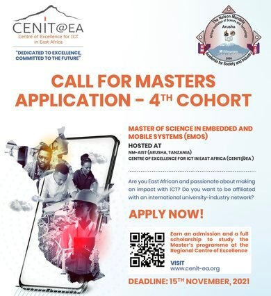CENIT@EA Masters Programme in Embedded and Mobile Systems (EMoS) Program for young EAC citizens (Fully Funded)