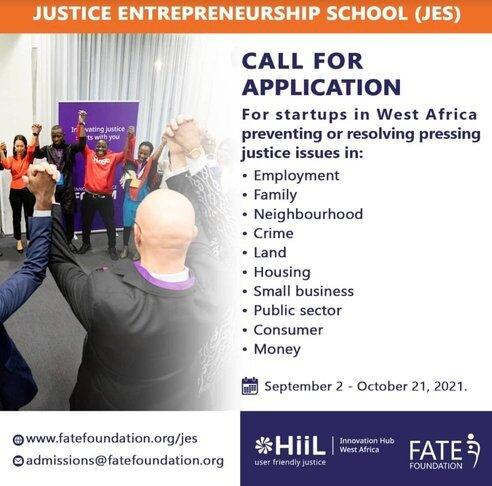 HiiL/FATE Foundation Justice Entrepreneurship School (JES) 2021 for West African Entrepreneurs.