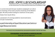 Canon Collins Trust 2022 Joel Joffe LLB scholarships at the University of Fort Hare and the University of the Western Cape – South Africa