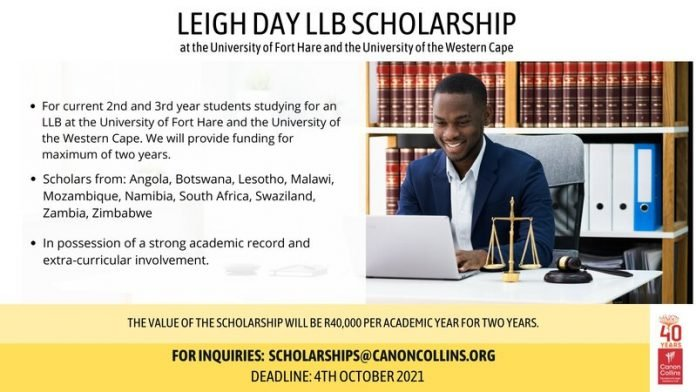Canon Collins Trust 2022 Leigh Day LLB scholarship at the University of Fort Hare and the University of the Western Cape