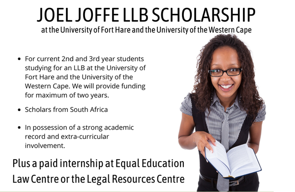 Canon Collins Joel Joffe LLB Scholarships 2021/2022 at the University of Fort Hare & the University of the Western Cape