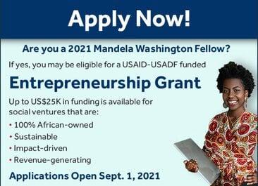 USAID-USADF Entrepreneurship Grants for 2021 Mandela Washington Fellows ($USD25,000 grant)