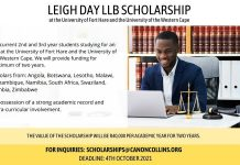 Canon Collins Leigh Day LLB Scholarship 2021/2022 at University of Fort Hare and the University of the Western Cape