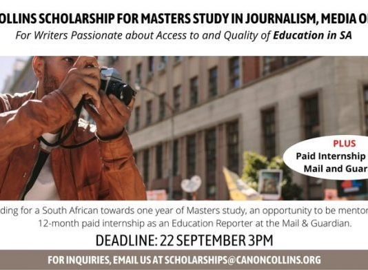 Canon Collins Scholarship in Education Journalism 2021-2022 for South Africans (Fully-funded)
