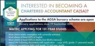 Auditor-General of South Africa's bursary scheme 2022 for young South Africans.