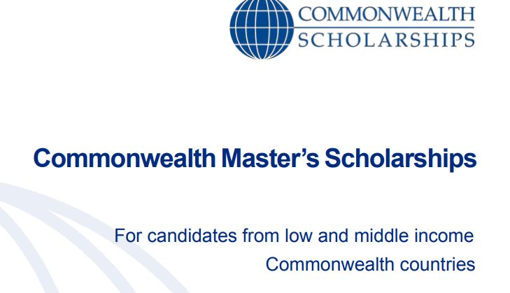 Commonwealth Master's Scholarships 2022/2023 for Low and middle income Commonwealth countries (Fully-funded)