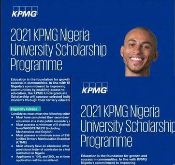KPMG Nigeria University Scholarship Programme 2021 for young Nigerians.