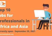 10 Jobs for Professionals in Africa and Asia currently open – September 25, 2021