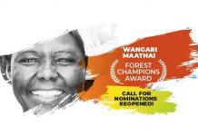 Wangari Maathai Forest Champions Award 2021 ($20,000 prize)