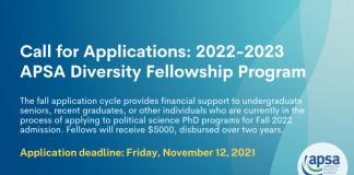 American Political Science Association (APSA) Diversity Fellowship Program 2022/2023 (Up to $5,000)