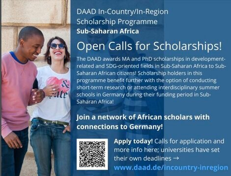 DAAD In-Country/In-Region Scholarship Programmes 2021/2022 for graduates & postgraduates from Sub-Saharan Africa (Fully Funded study in Germany)